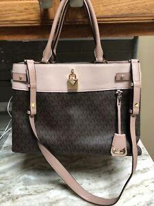 Michael Kors Women's Brown & Light Pink Large Tote Shoulder Bag 14X10