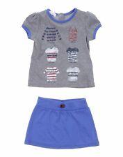 Nwt New Gucci baby girls blue gray t-shirt skirt 2pc 3/6 6/9 12/18 24 36m 372139