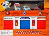 Emergency Rescue Station Garage 3 Vehicles - Police Car, Fire Engine, Ambulance