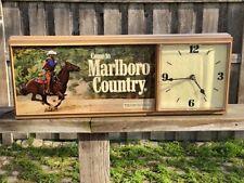 Vintage Come to Marlboro Country Light Clock Sign Cowboy Lasso DCI Marketing