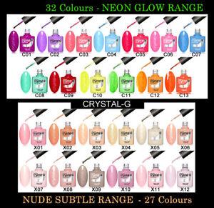 CRYSTAL-G - NUDE RANGE - NEON GLOW - UV LED GEL NAIL POLISH VARNISH - UK SELLER