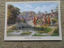 SALMON.POSTCARD.FROM A PAINTING BY A.R,QUINTON.THE BRIDGE CASTLE COMBE WILTSHIRE