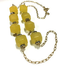 NEW! J. CREW Lemon Yellow Lucite & Rhinestone Station Necklace Gold Tone FF424m