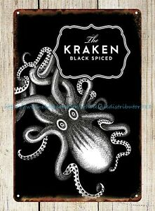 house decor Kraken Rum drink brewer mancave tavern Restaurant metal tin sign