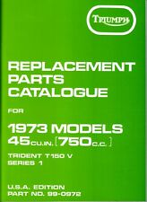 1973 Triumph Trident 750, T150V, Series 1, OEM, USA Edition, Parts Catalogue