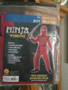 RUBIE'S HALLOWEEN COSTUME NINJA WARRIORS BOY SZ. M(8-10) RED DRAGON NWT NICE
