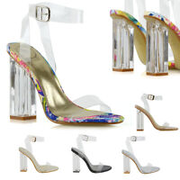 Womens High Heel Ankle Strap Sandals Perspex Ladies Clear Block Heel Party Shoes