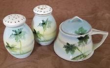 Antique Nippon Condiment Set: Salt & Pepper Shakers, Condiment Bowl, circa 1900s