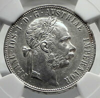 1880 AUSTRIA King FRANZ JOSEPH I Genuine Antique Silver Florin Coin NGC i79893