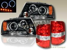 2004-08 FORD F150 DUAL HALO BLACK PROJECTOR HEADLIGHTS LED + RED/CLR TAIL LIGHTS