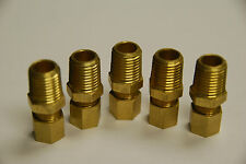 Brass Fitting Compression Male Connector Male Pipe Size 1/4, Tube OD 1/2, Qty. 5