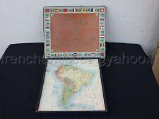 Ancien Jeu puzzle BOIS ATLAS GEOGRAPHIQUE EL? ASIE FRANCE AMERIQUE SUD 35*29 cm