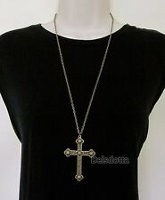 "FANCY DRESS BRONZETONE CROSS NECKLACE 30"" CHAIN PRIEST VICAR VAMPIRE ACCESSORIES"