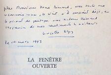 EO ENVOI dédicace Georgette ELGEY La fenêtre ouverte 1/40 num. HC