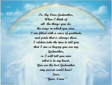Christmas Gift/ Birthday Gift For Godmother Personalized Poem Gift Rainbow Hands