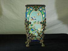 RARE-Antique French Longwy Tile Bronze Accents Original Oil Lamp Base or Vase
