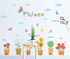 Flowers Pot Butterfly Home Room Decor Removable Wall Stickers Decal Decoration