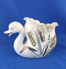 """NICE White Swan Planter Porcelain Ceramic Flower Pottery Duck Bird 4"""" 4.5"""" N7001"""