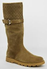 New Gucci Women's Brown Suede w/Guccissima Horsebit Buckle Knee Boot 340386 2527