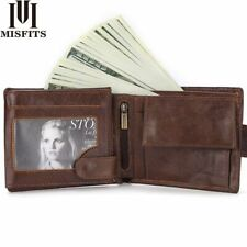 Luxury Leather Men Trifold Wallet Coin Purse Fashion Short Hasp Zipper Wallets