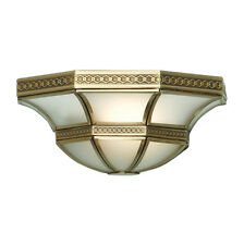 Traditional Style Antique Brass Wall Light Embossed Pattern and Frosted Glass