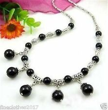 Ladies Necklace Tibet Silver Black Jade Round Beads Women's Necklace 18""