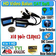 10pair 20pcs CCTV BNC Video Power HD Balun CAT5e 6 Surge Protect 1080P 720P 960H