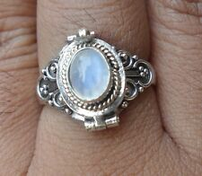 925 Solid Silver Balinese Poison/Wish Locket Ring Rainbow Moonstone Size 6-65L
