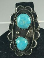Native American Sterling Silver  Turquoise Ring Signed RD
