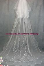 """2-Tier 95""""L Chapel/Cathedral Long Trailing Bridal Wedding VEIL,Embroidery Design"""