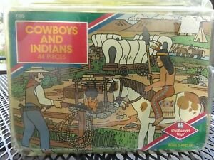 Vtg. Cowboys and Indians Plastic Men Horses Toys and Playmat Small World Toys