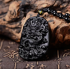 Black Obsidian Dragon Necklace Pendant Jewelry