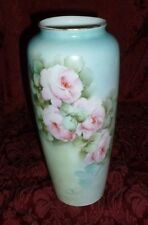 "Porcelain Hand Painted Vase. Pink Roses. 9"".Antique.Signed.Bavaria.Rosenthal.Urn"