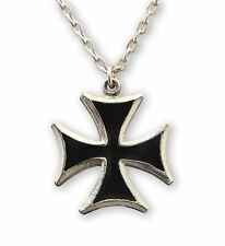Maltese Cross Surfers' Cross Black on Pewter Cosplay Pendant Necklace NK-5