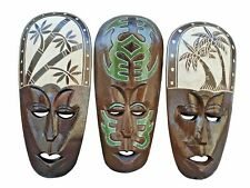 New Listing Set of (3) Hand Chiseled Wood African Style Wall Decor Masks!