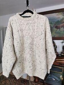 Herren Pullover L Aran Crafts Ireland  Reine Wolle Zopfmuster
