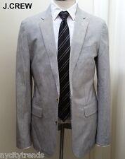 J.CREW Ludlow cotton linen blazer grey white stripe jacket sport coat 38S 38 S