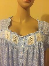 Eileen west nightgown 2X Modal  Cotton Blend Cap Sleeves Sky Blue / White