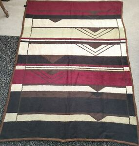 Vintage Revert Acrylic Blanket Brown Red Southwestern Reverse 76X56 Warm Throw