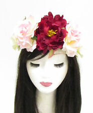 Large Red Rose Flower Sugar Skull Headband Halloween Big Day of the Dead 797