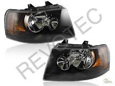 2003-2006 Ford Expedition Black Housing Headlights RH & LH Pair Set