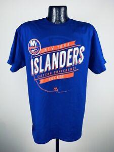 Men's Majestic NHL New York Islanders Blue Earn Each Play Short Sleeve Shirt S
