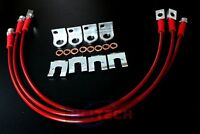 Red Jeep TJ YJ & XJ 87-06 Stainless Steel FRONT& REAR Extended Brake Line Kit