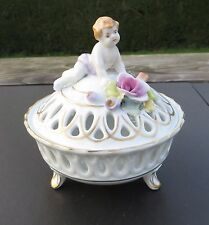 Von Schierholz Porcelain Reticulated Footed Trinket Box/Candy Dish Putto/Cherub