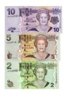 SET, FIJI, 2; 5;10 dollars, 2007-2011, 3 Pcs set Banknotes UNC > QEII