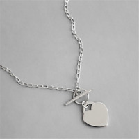 Genuine 925 Sterling Silver Heart Charm Chain T Bar Necklace Choker Jewelry