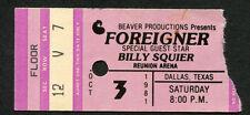 1981 Foreigner Billy Squire concert ticket stub Dallas Juke Box Hero Head Games