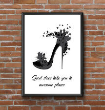 INSPIRATIONAL SILVER SHOES HEELS QUOTE PRINT A4 POSTER PRINT  DESIGNER