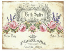 Vintage Image Antique Shabby Bath Salts Pink Roses Labels Transfers Decals Ba208