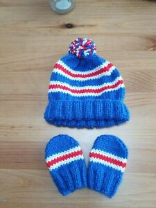 Hand Knitted baby hat , Glasgow Rangers FC Pom Pom Hat And Mitts 0 To 3 Months